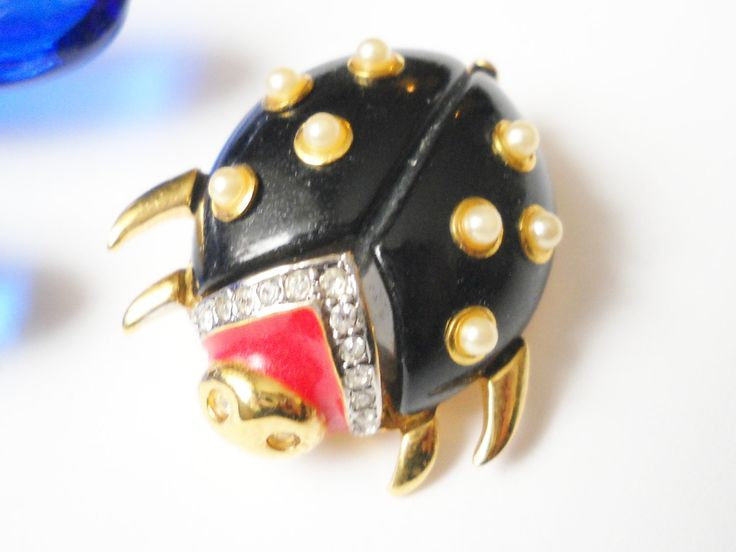 Vintage KJL Lady Bug Brooch Black Red Enamel Faux Pearls Gold Tone Insect Figural Metal Woodland Cottage Chic by FindCharlotte on Etsy