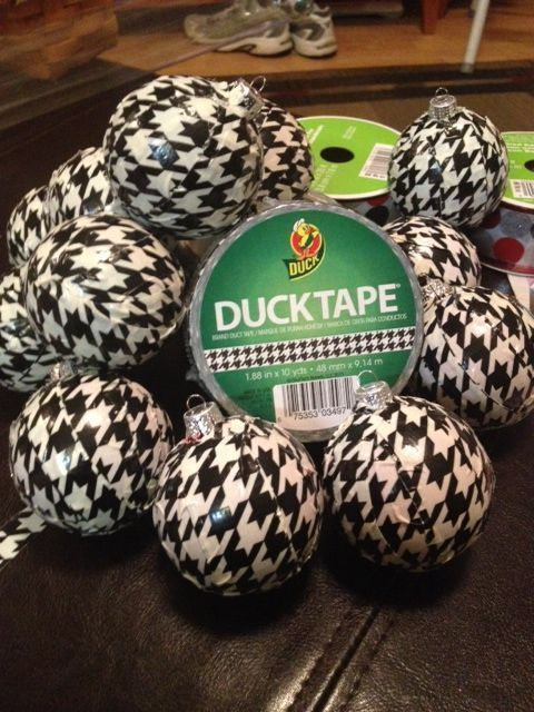 My daughter and created houndstooth ornaments by taking strips of houndstooth duck tape and wrapping shatterproof ornaments.