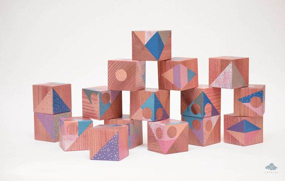 16 Artistic handmade wooden blocks set Unique author's by Lapalai