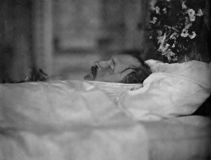 Deathbed photo of Prince Albert who died on December 14, 1861, aged 42 in the Blue Room at Windsor Castle in the presence of the Queen and five of their nine children and Kaiser Wilhelm II.  This is a rare photograph as Princess Beatrice destroyed all others