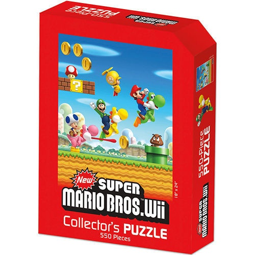 Nintendo Super Mario Wii 550-Piece Puzzle: Jump into an all-new Mario adventure! Relive the fun and excitement of Mario and Luigi's journey from the New Super Mario Bros. Wii game in a multi-puzzler format. Help the Mario brothers travel over land and through pipes to save Princess Peach once again from Bowser and the Koopalings.  $14.99  http://www.calendars.com/Video-Games/Nintendo-Super-Mario-Wii-550-Piece-Puzzle/prod201200008796/?categoryId=cat130002=cat130002#