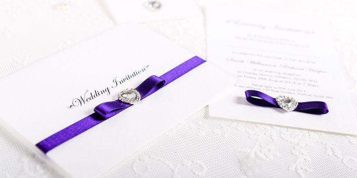 Sweetheart Handmade Wedding Invitation Design - bow and heart crystal