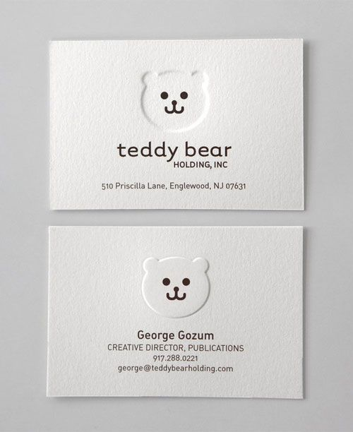Business Card for: Teddy Bear We kid you not,...8 for simplicity, 9 for the audacity, 10 because we all have had a bear or two in our lives.