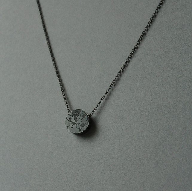 Oxidised silver etched circle necklace with pearl detail
