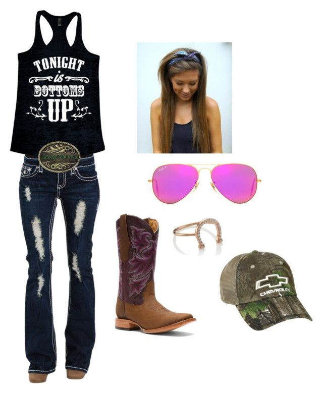 """Tonight is bottoms up"" by harleygrace20 on Polyvore featuring Ray-Ban, Durango, Realtree and Aamaya by Priyanka"