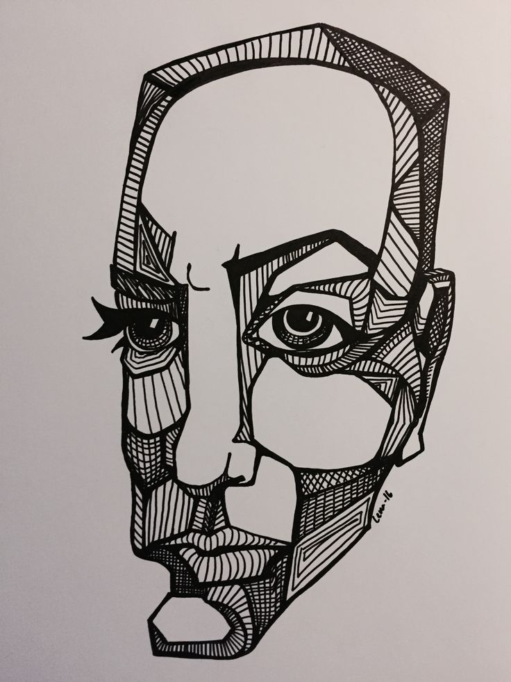 Drawing, face, ink
