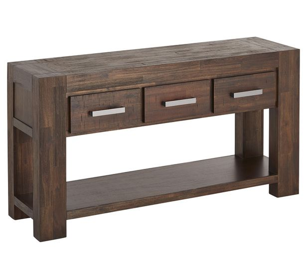 Kingston 3 drawer hall table hallway entry tables for Fantastic furniture dining table 8 seater