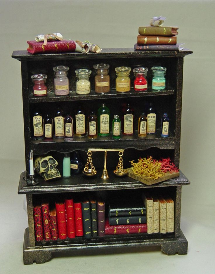 Dolls house Miniature Filled Black / Gold Large Lit Wizard / Witch Cabinet of poisons and potions