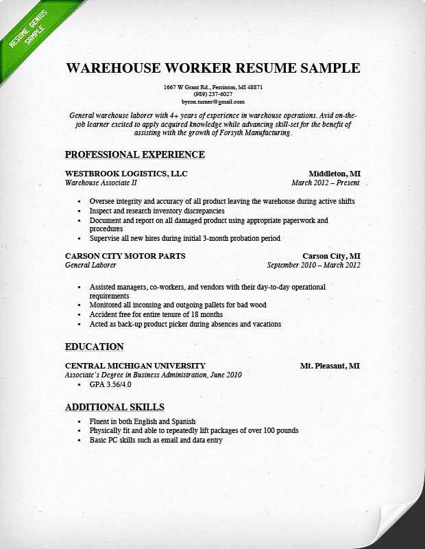 Warehouse Job Description Resume New Sample Resume For Warehouse Job Romes Danapardaz In 2020 Warehouse Resume Job Resume Samples Resume
