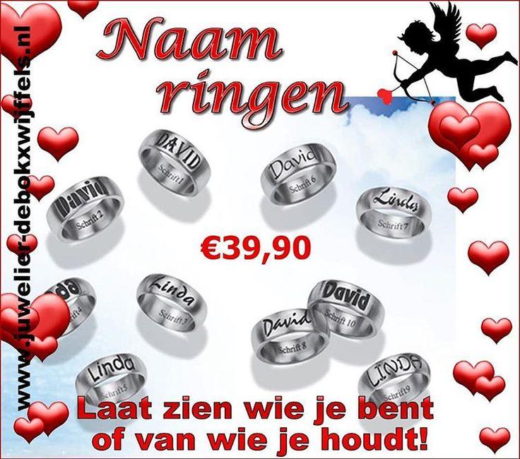 Valentijn staan weer bijna voor de deur: inspiratie naamringen! #sieraden #valentijn #valentijnscadeau #juwelier