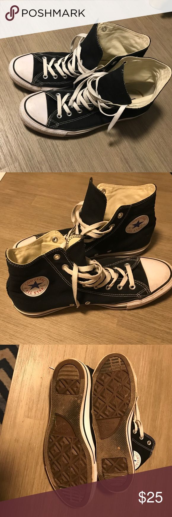 Black high top converse Gently worn size 10 men 12 women black high top chucks Converse Shoes Athletic Shoes