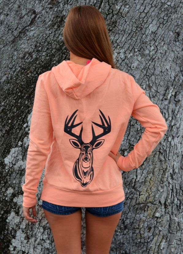 Ladies Orange Deer Sweater with Glitter Buck. I can totally make this when my silhouette comes in.