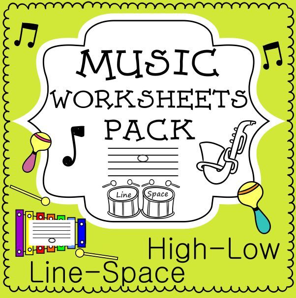 Music Worksheets Pack (Line-Space, High-Low) This set of 20 Music worksheets is designed to help your students practice identifying whether a pitch is on a line or in a space and practice high/low pitches.