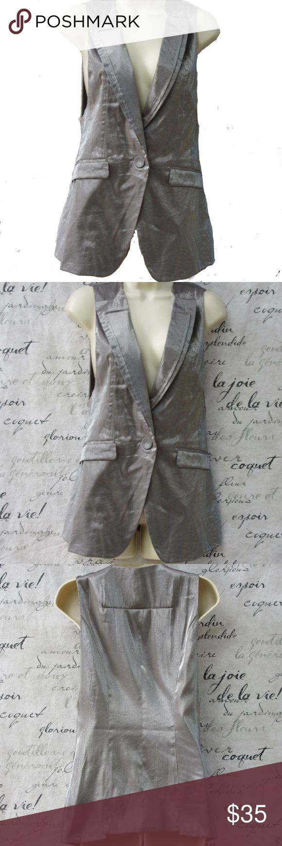 """Renee C. Silver Metallic Vest w/ Lapels NWOT Be on trend for Fall & Winter. Silver is hitting the runways. This vest is shiny silver with lapels that look doubled. The armholes have a slight square cut and there is a 7"""" x 1/2 cut out at the rear bottom edge for a futuristic feel. 75% rayon; 25% nylon. 28"""" long; 17"""" across underarms. Never been worn and replacement button still attached to tag. Perfect condition. Renee C. Tops"""