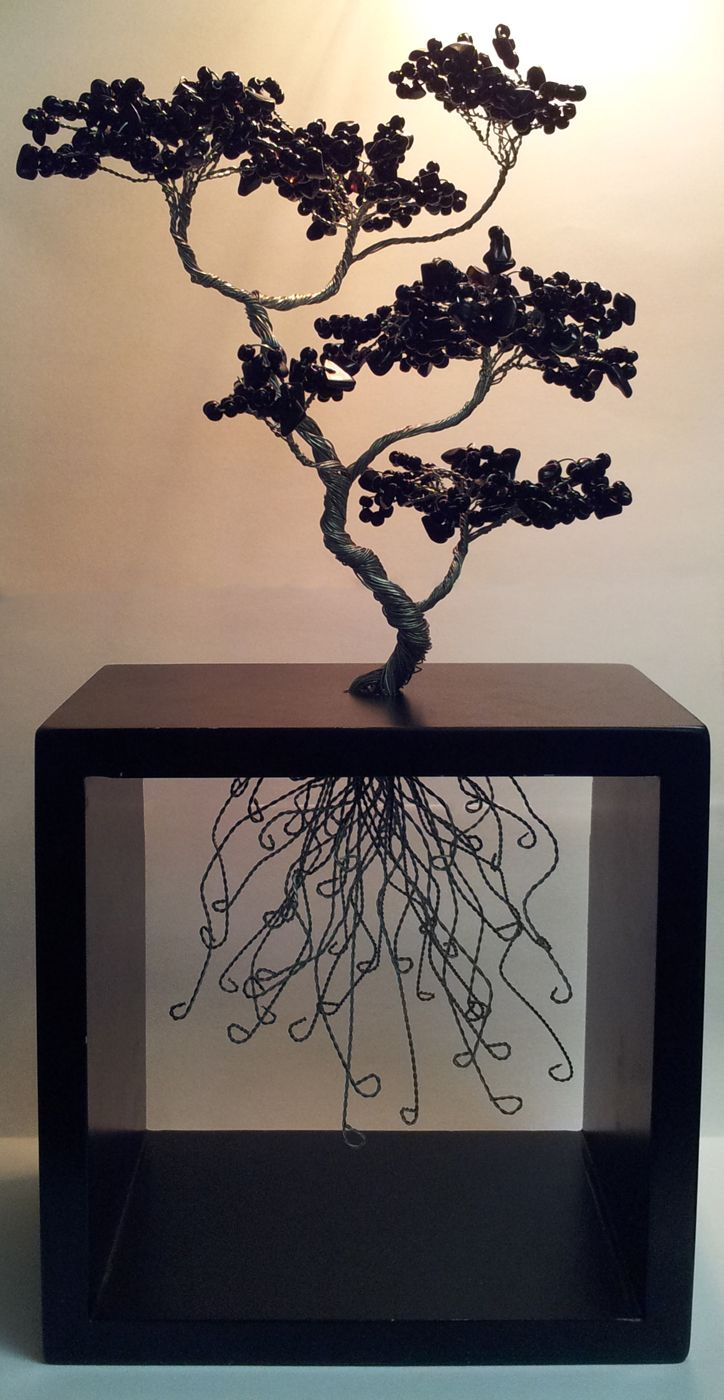 "Beaded Bonsai - 13"" Tall, Black seed beads and glass chips on silver wire, rooted in a frame box. By Lee Wyatt"