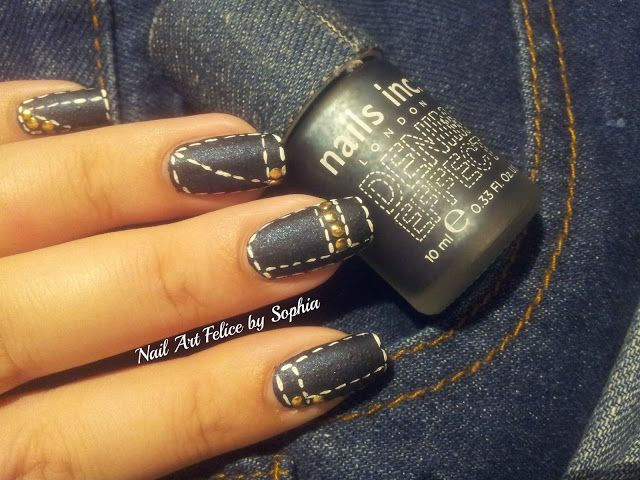 Tutorial Nail Art Effetto Jeans - Nail Art Felice by Sophia