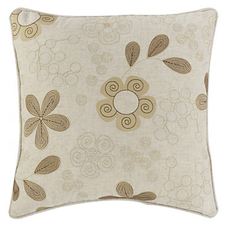 """18"""" Square Country Linen Embroidered Floret Decorative Pillow Cover  #cushions #pillows #decor #pattern #country #homedecor #livingroom"""