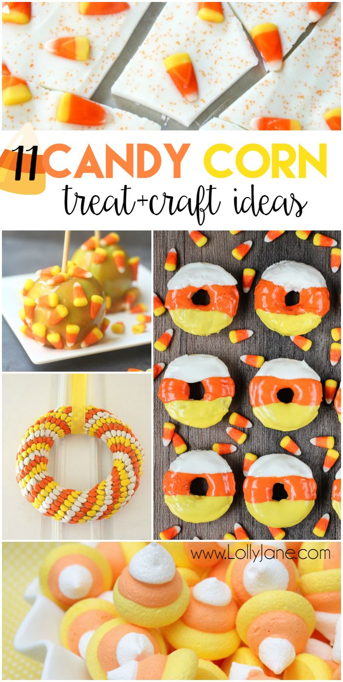 11 candy corn treat and craft ideas! Lots of yummy candy corn ideas and candy corn craft ideas. Great for Halloween or fall!