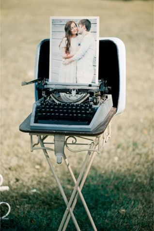 Vintage typewriter with engagement photo at the wedding ceremony