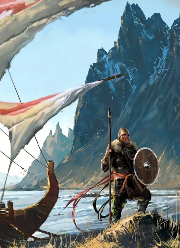 A Norseman named Naddodd, stepping foot for the first time in 861AD on an undiscovered new land, which later was given the name Iceland.