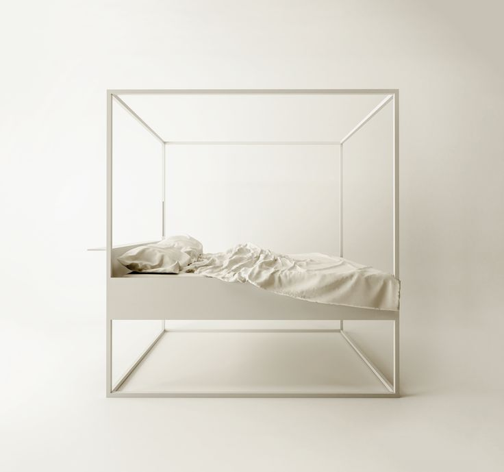 Four-poster bed with an essential and filiform line: the concept is to sleep into a design object.  Two small slits  of LED become  lamps in style with the linearity of the design.  The elegance of his line in a room is unquestionable...
