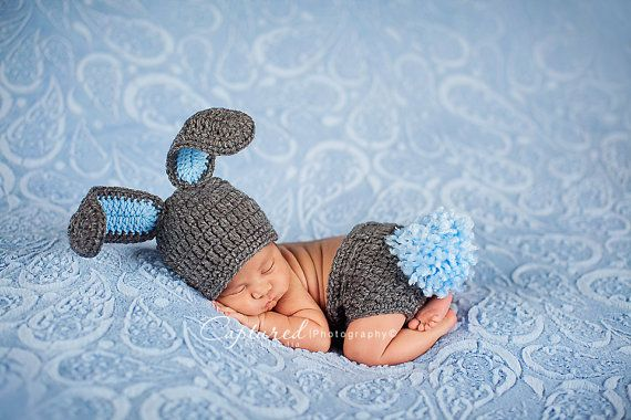 Baby Boy Hat MUST SEE  Too Cute Newborn Baby Boy or Girl Crochet Gray Bunny Hat/Diaper Cover More Colors  FREE  Shipping Easter Set