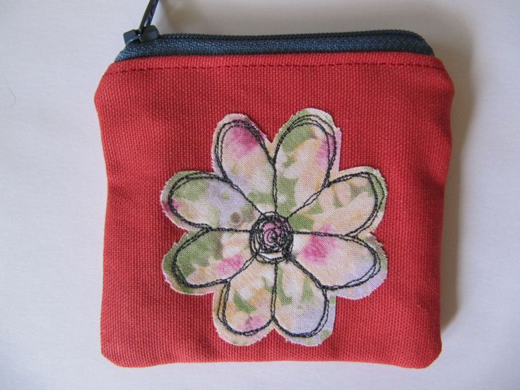 Flower Applique Coin Purse, Free Motion Machine Embroidery, Small Makeup Bag, Coin or Makeup Bag, Red, Blue Zip, Lined, Vintage fabric. by BobbyandMeSew on Etsy