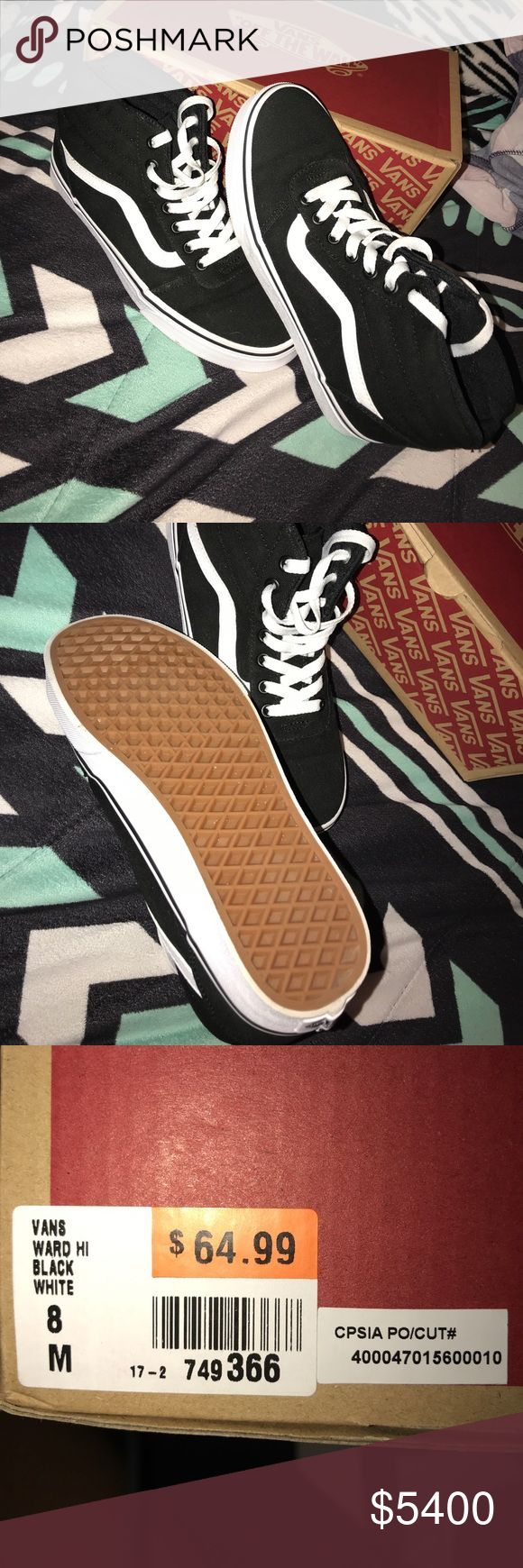 """Vans """"off the wall"""" Size 8. Worn maybe once or twice, basically brand new with the box. Bottoms are very clean, like said worn maybe once or twice. Asking retail price or best offer. Vans Shoes Sneakers"""