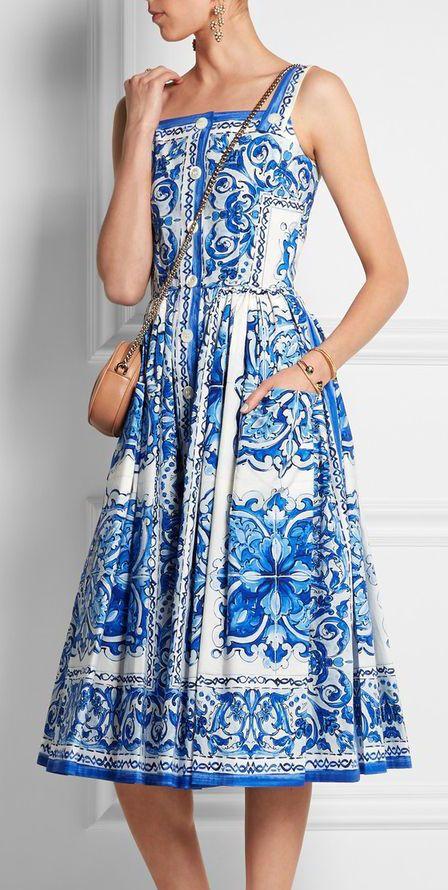 Printed cotton-poplin midi dress