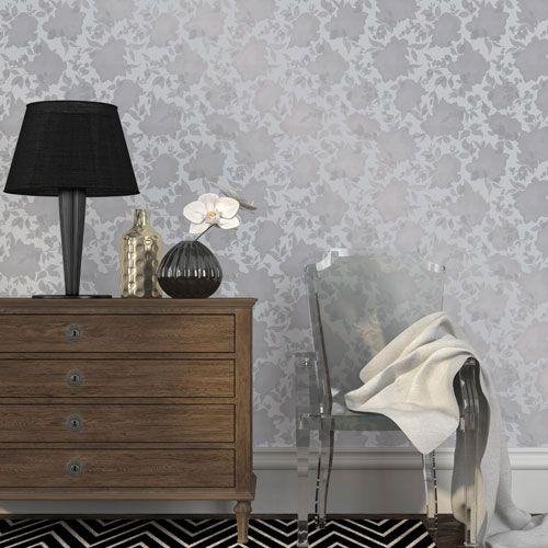 Silhouette Metallic Silver Removable Wallpaper