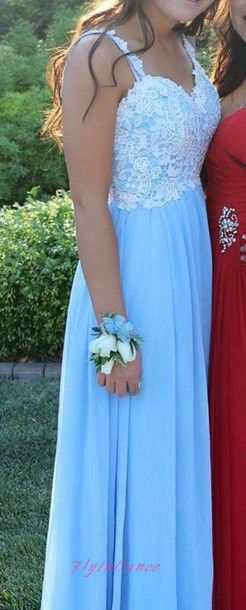 Simple Light Blue Prom Dress 2016 A Line Lace Prom Gown Chiffon Straps Evening…