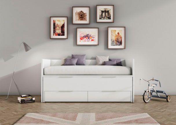 Habitación Infantil: Cama deslizante 90 x 190 cm. con brazos y respaldo   Cama deslizante nido de arrastre para dormitorio juvenil en acabado blanco con tiradores pestaña. C