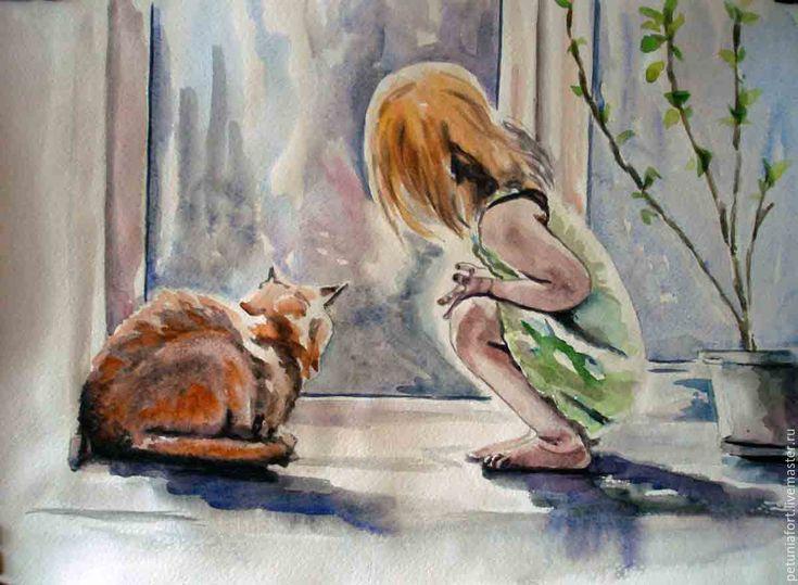 Картинки девочка и котик рисованные, дистанцию картинка коробочка