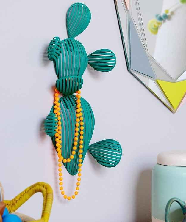 Adorable cactus hook for jewelry or clothes. Perfect for a big girl room!