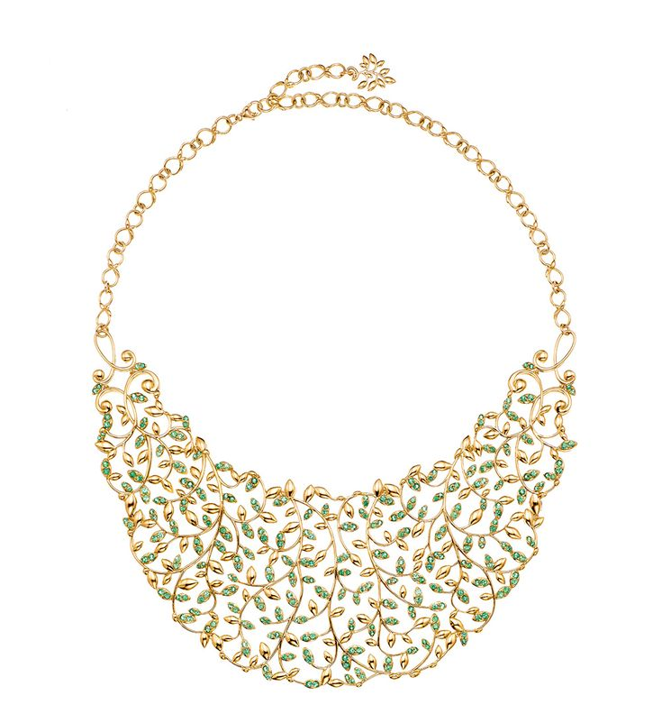 Paloma's Olive Leaf bib necklace with tsavorites in 18ct gold by Paloma Picasso for Tiffany & Co