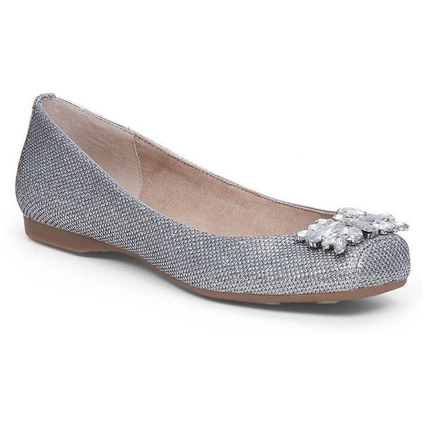 Jessica Simpson Mollins Patterned Ballet Flats ($79) ❤ liked on Polyvore featuring shoes, flats, silver, ballet shoes, ballet flat shoes, slip on flats, ballet pumps and round toe ballet flats