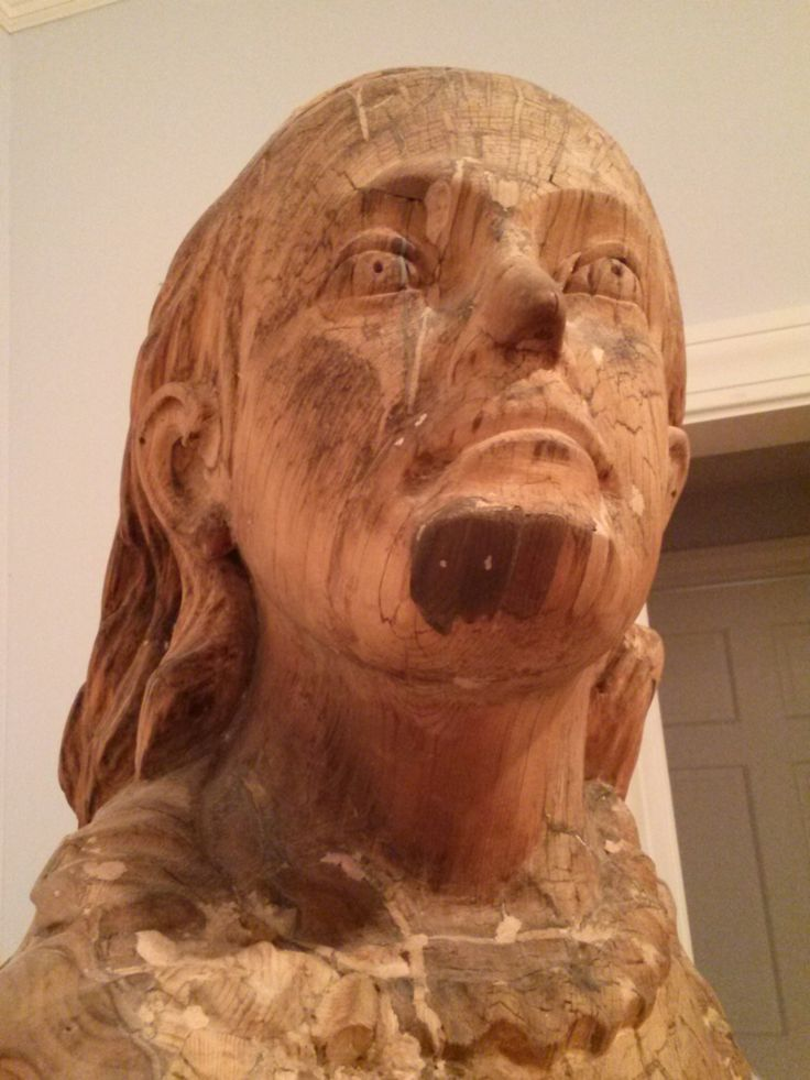 Photo taken 2014: Close up of Altamaha figure's head. When salvaged from the wreck the figurehead was repainted white and placed in the yard of one of the Chatham town's people for decoration. Years later, after being donated to the Historical Society, the figurehead was restored to her natural wood. #altamaha, #shipfigure, #figurehead, #atwoodhouse, #chathamhistoricalsociety, #chatham, #capecod