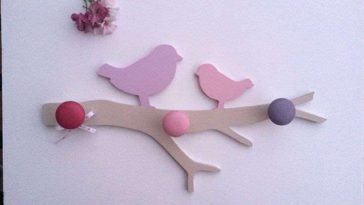Porte manteau branche poétique et ses oiseaux en pin 3 patères