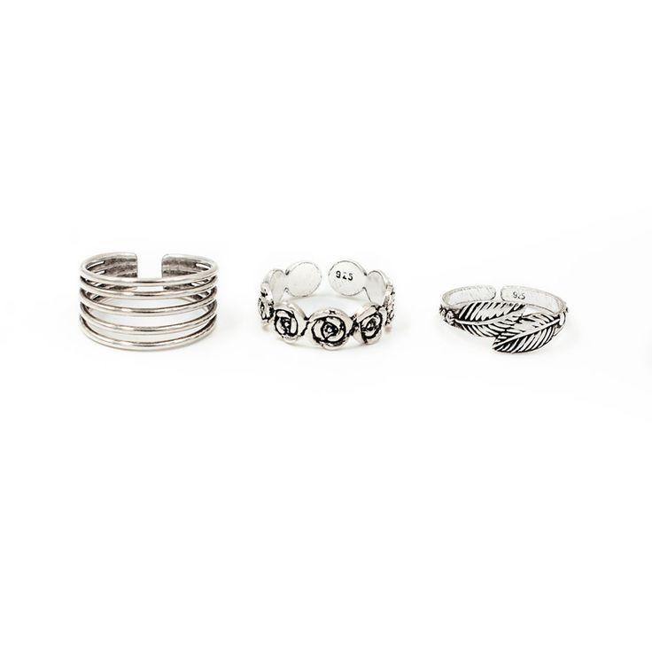Набор серебряных колец на фаланги