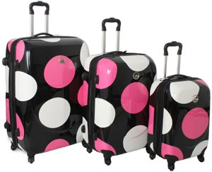 NOT your grandma's luggage... International Traveller Large Dot 3 Piece Spinner Luggage Set