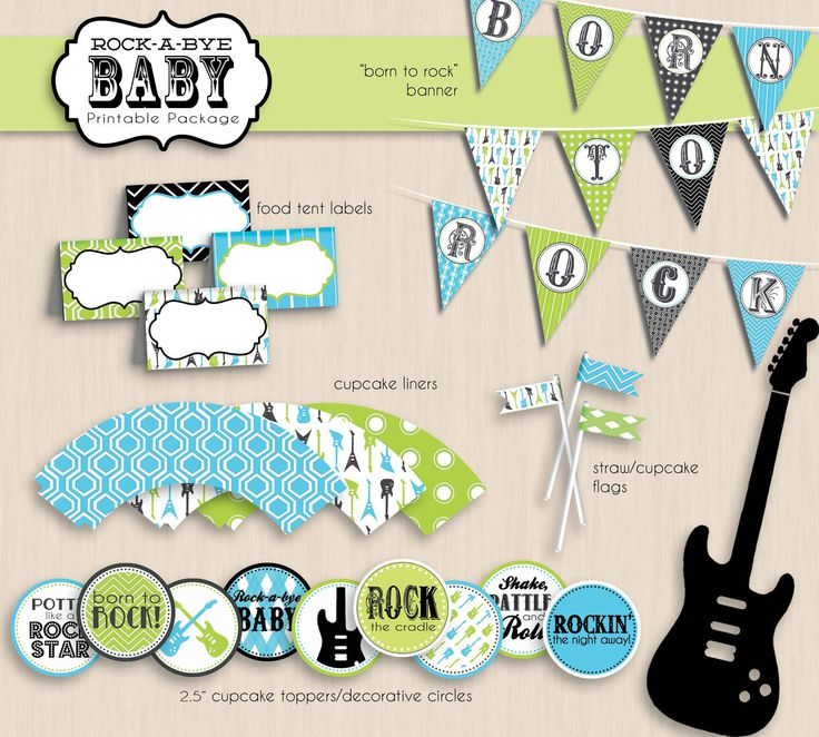 LITTLE ROCK STAR Baby Shower Printable Invitation. $17.00, via Etsy.