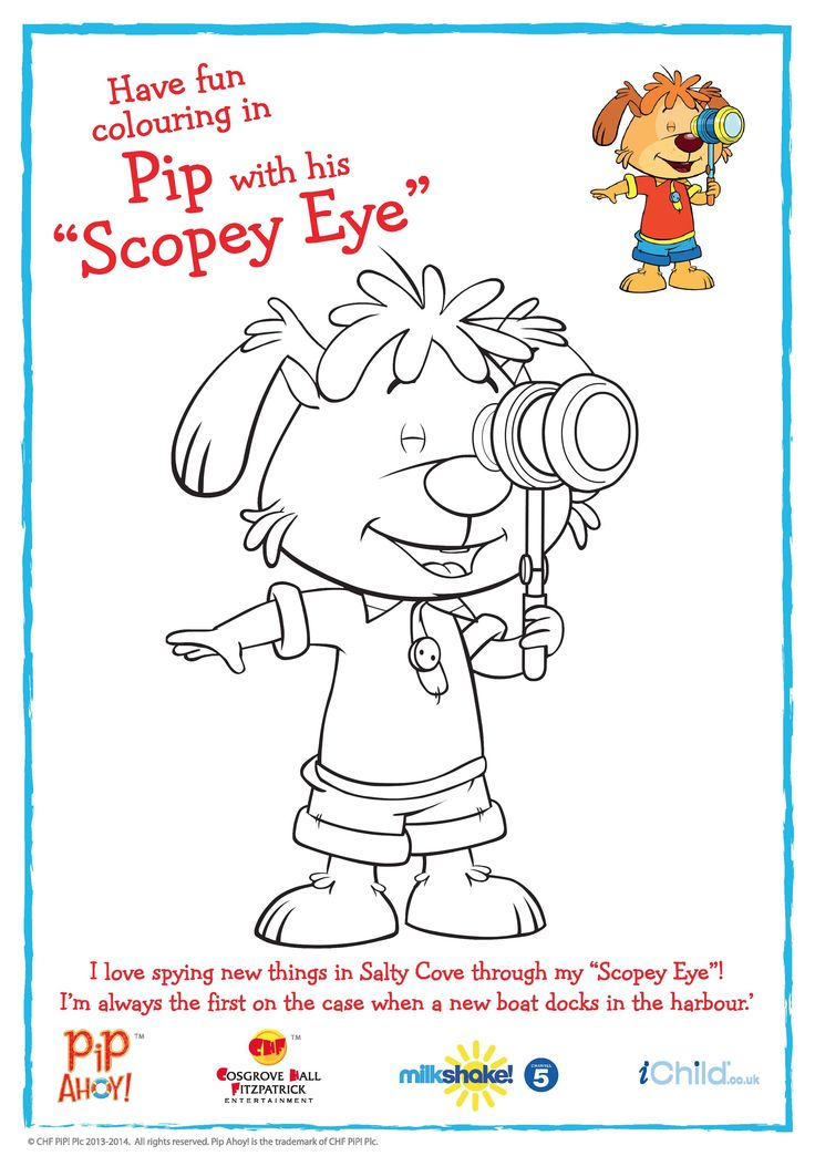 "Pip with his ""Scopey Eye"" colouring in activity available from #PipAhoyUK section on ichild.co.uk"