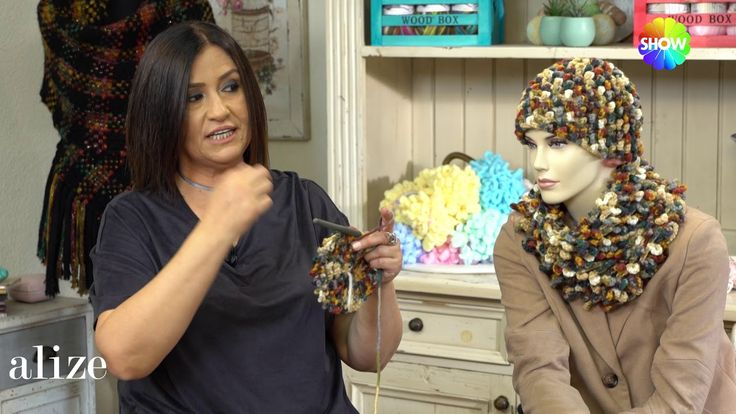 Alize Superlana Multicolor ile Bere Boyunluk  - Hat and Cowl with using Alize Superlana Multi Color - YouTube