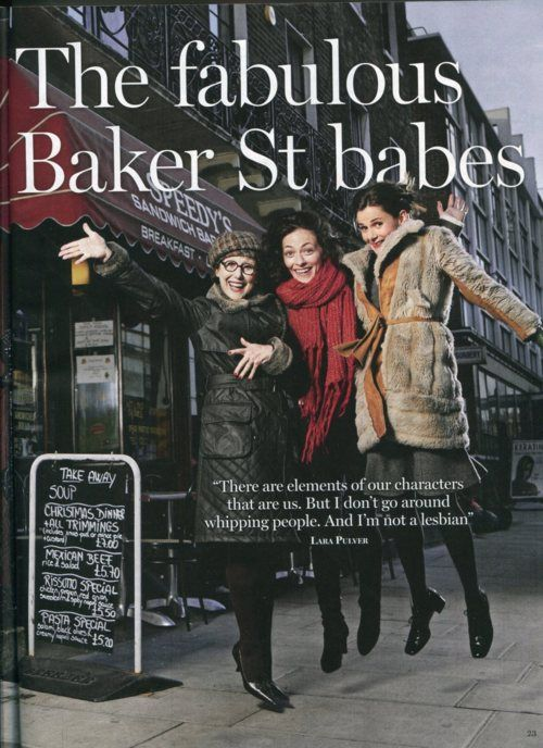 The fabulous Baker St. babes: Una Stubbs, Lara Pulver, and Louise Brealey