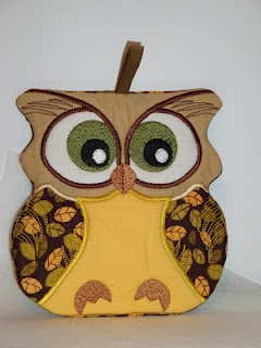 In The Hoop Owl Kitchen Decor Potholder
