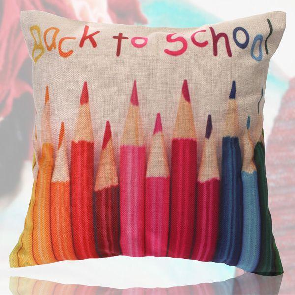 Palabras lápices de colores funda de almohada tiro sábanas de algodón sofá de cintura posterior fundas de colchón