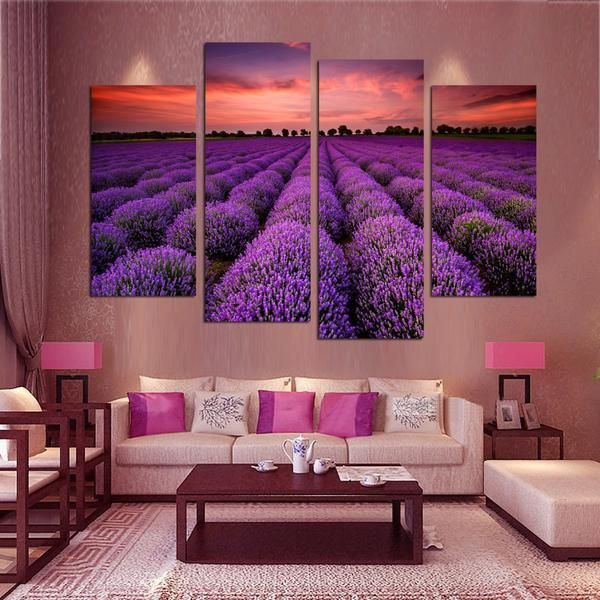 Purple Lavender Blossom Features 4 Panels Displaying A Beautiful Flower Garden This Painting Is Framed And Purple Wall Decor Home Decor Wall Decor Living Room Purple wall decor living room
