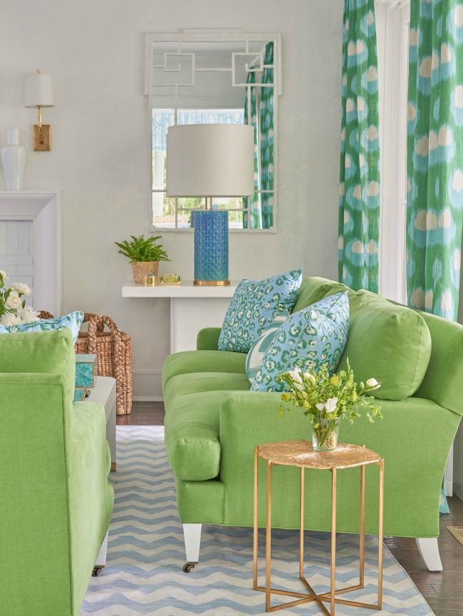 In Good Taste Meg Braff Parlor RoomGreen CouchesGreen ChairsColorful RoomsGreen IdeasFamily RoomsLiving