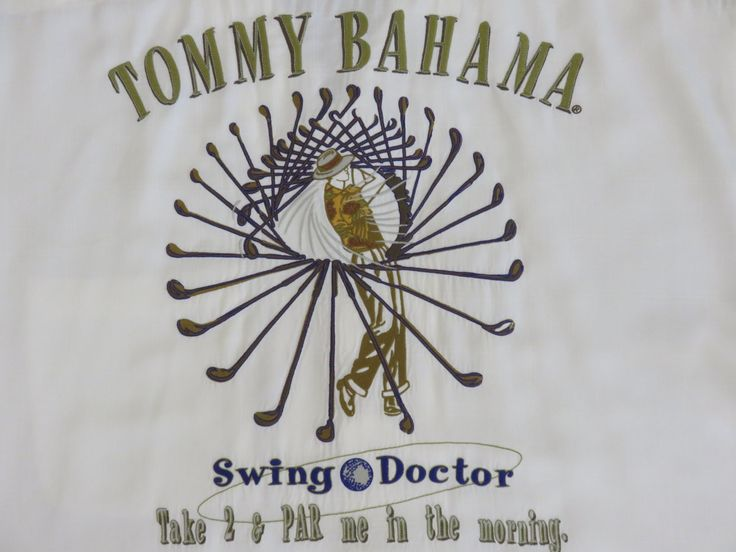 Vintage Hawaiian Shirt 90s TOMMY BAHAMA Embroidered Swing Doctor Golf Take 2 & Par me in the morning Camp Mens - XL - OahuLewsShirtShack by OahuLewsShirtShack on Etsy