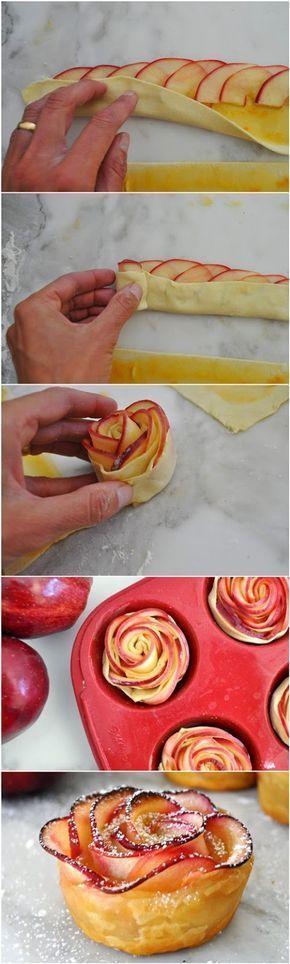 Imponera på dina gäster med denna vackra rosformade dessert gjort på äpplen som lindats in i smördeg.